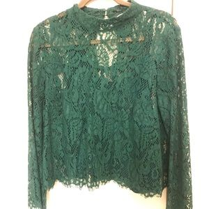 Dark green lace blouse H&M